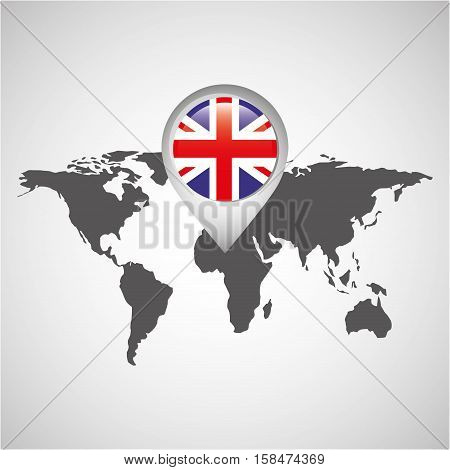 world map with pointer flag england vector illustration eps 10