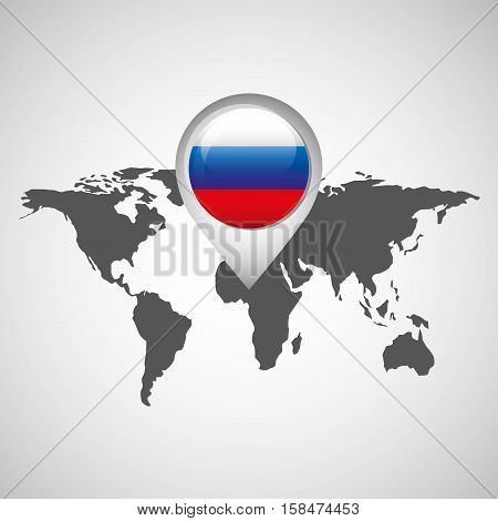 world map with pointer flag russian vector illustration eps 10