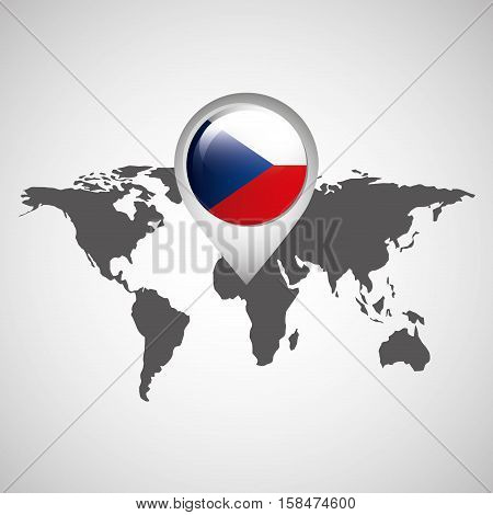 world map with pointer flag czech republic vector illustration eps 10