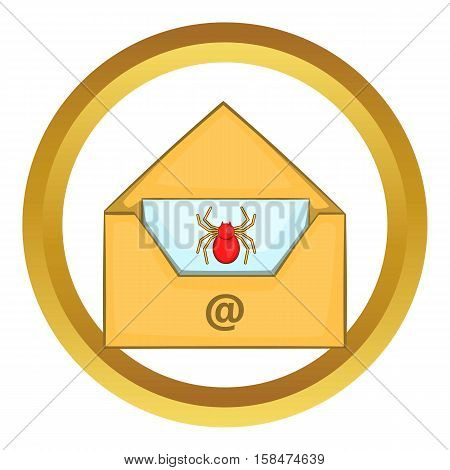 Infected email vector icon in golden circle, cartoon style isolated on white background