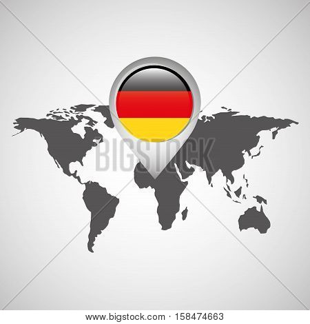 world map with pointer flag germany vector illustration eps 10