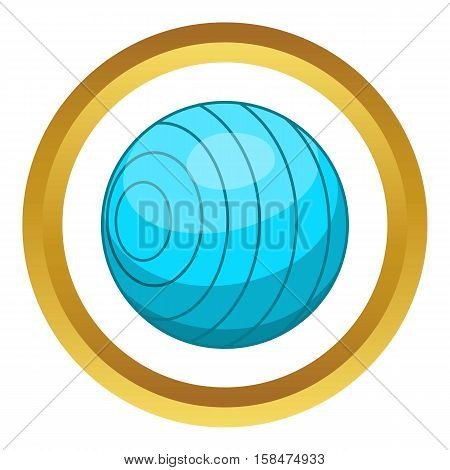 Beach ball vector icon in golden circle, cartoon style isolated on white background