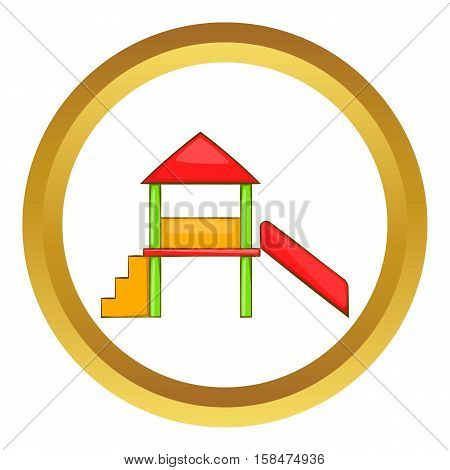 Playhouse with slide vector icon in golden circle, cartoon style isolated on white background