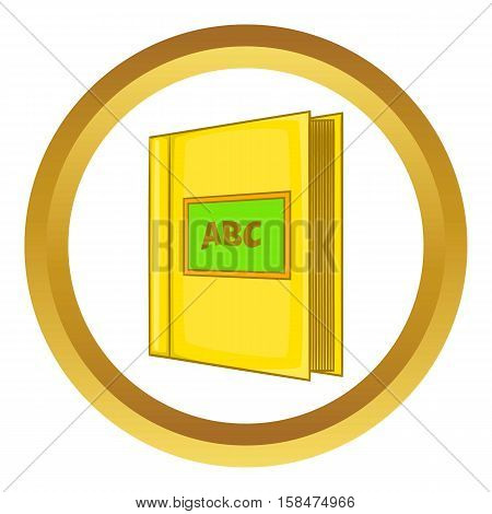 Abc book vector icon in golden circle, cartoon style isolated on white background
