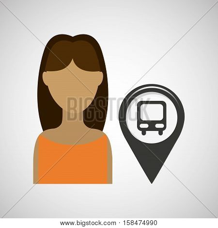 station bus pointer map girl design icon vector illustration