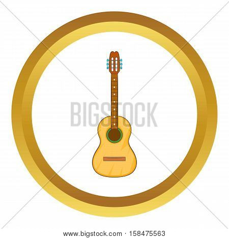 Acoustic guitar vector icon in golden circle, cartoon style isolated on white background
