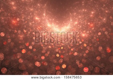 Supernova Explosion. Abstract Colorful Pink And Red Drops On Dark Background. Fantasy Fractal Textur