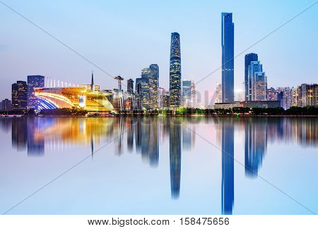 Modern urban night view Pearl River New City Guangzhou China