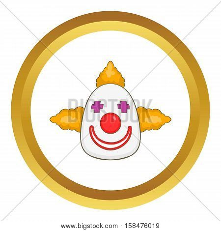 Clown vector icon in golden circle, cartoon style isolated on white background