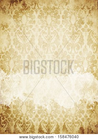 Aged yellowed paper background with old-fashioned patterns. Vintage and grunge paper texture wit space for the text.