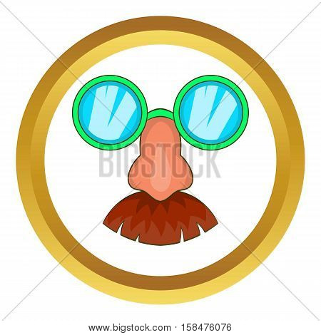 Disguise mask vector icon in golden circle, cartoon style isolated on white background