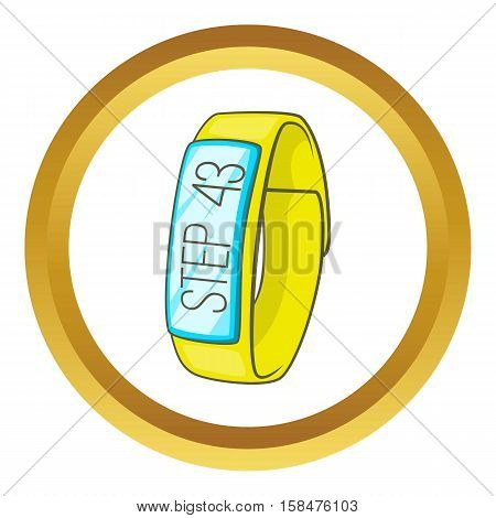 Pedometer vector icon in golden circle, cartoon style isolated on white background