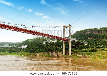 Yangtze River town of modern bridge Chongqing China.