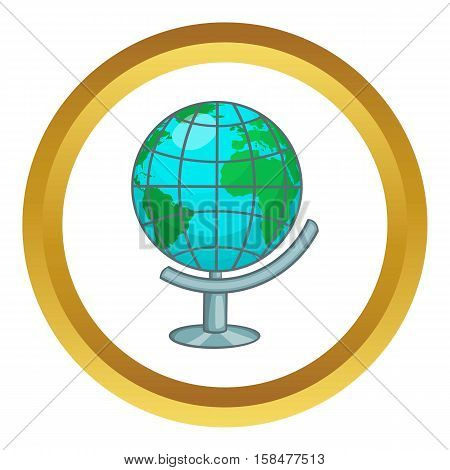 Terrestrial globe vector icon in golden circle, cartoon style isolated on white background