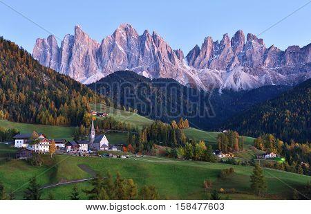Val di Funes in twilight Dolomites Italy