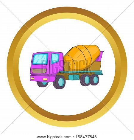 Concrete mixer vector icon in golden circle, cartoon style isolated on white background