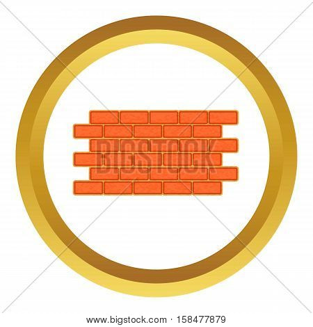 Brick wall vector icon in golden circle, cartoon style isolated on white background