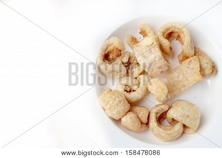 Streaky Pork With Crispy Crackling Isolated On White Background