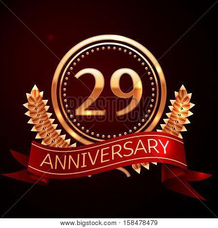 Twenty nine years anniversary celebration with golden ring and ribbon.