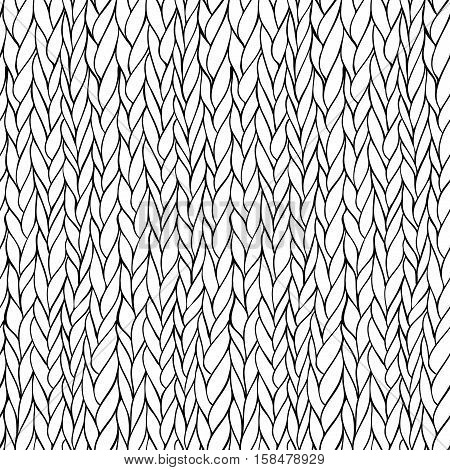 Vector seamless monochrome hand drawn knitting pattern