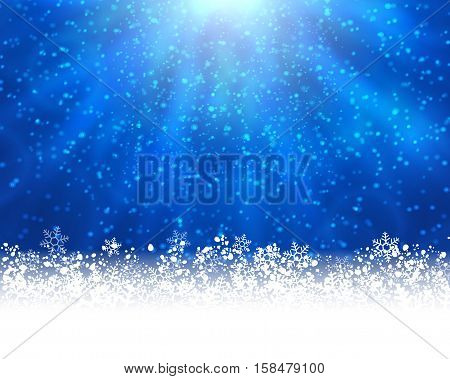 Winter holiday greeting card. Vector blue background with white snow at the bottom and light of shinning stat at the top