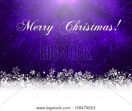Winter holiday greeting card. Vector purple background with white snow at the bottom and text Merry Christmas