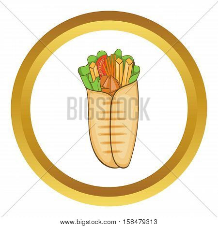 Shawarma vector icon in golden circle, cartoon style isolated on white background