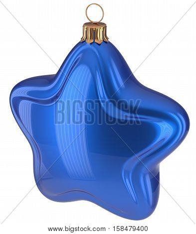 Blue Christmas star shaped Merry Xmas ball hanging decoration adornment New Year's Eve bauble. Happy wintertime holidays greeting card design element traditional decor ornament blank. 3d illustration