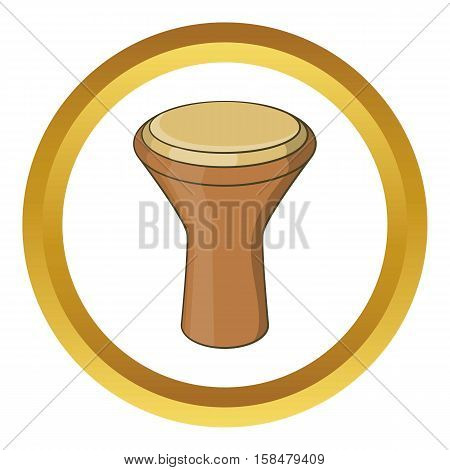 Darbuka musical instrument vector icon in golden circle, cartoon style isolated on white background