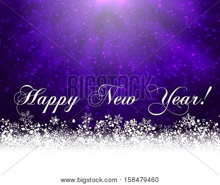 Winter holiday greeting card. Vector purple background with white snow at the bottom and text Happy New Year