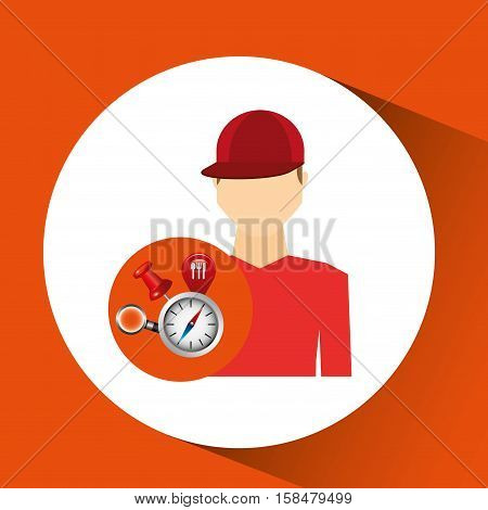 man red tshirt collection navigation elements concept vector illustration eps 10