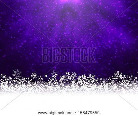 Winter holiday greeting card. Vector purple background with white snow at the bottom and light of shinning stat at the top