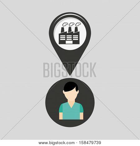 indrustrial building pin location man design vector illustration eps 10