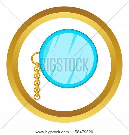 Monocle vector icon in golden circle, cartoon style isolated on white background