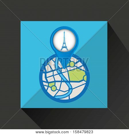 mobile device tower eiffel france gps map vector illustration eps 10