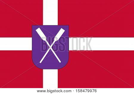Flag of Samso in Central Jutland Region in Denmark