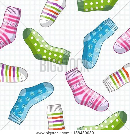 Vector seamless pattern with colorful cute socks
