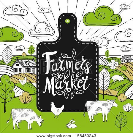 Farmers Market logo, stickers in sketch style, fields, farm animals. Farmer Market logo, lettering, calligraphy, leaf, blackbord background. Hand drawn vector illustration.
