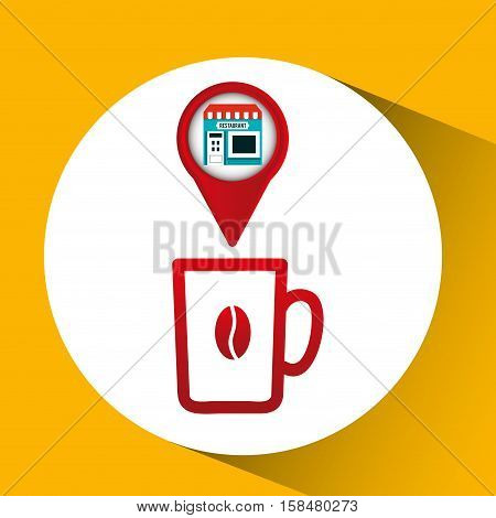 smartphone coffee store app location vector illustration eps 10