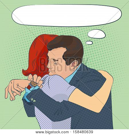 the long parting, man and woman hug, pop-art style illustration