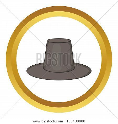 Traditional korean hat vector icon in golden circle, cartoon style isolated on white background