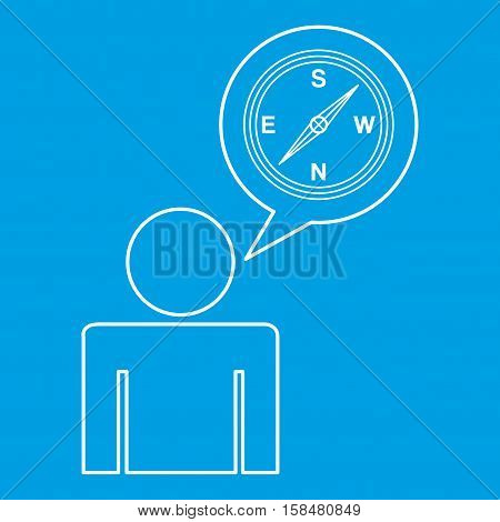 compass locate destination icon silhouette man vector illustration eps 10