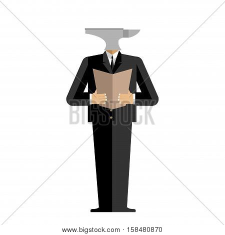 Man Anvil Businessman. Harsh Boss. Incus Manager. Tool In Human Clothes