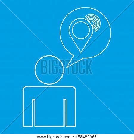 wifi locate destination icon silhouette man vector illustration eps 10