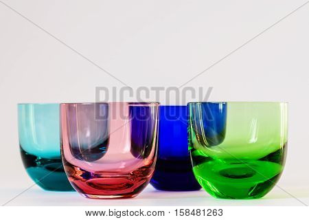 some colored glasses in a macro view