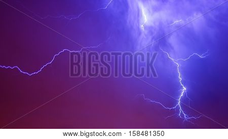 Thunderstorm lightning with dark cloudy sky background