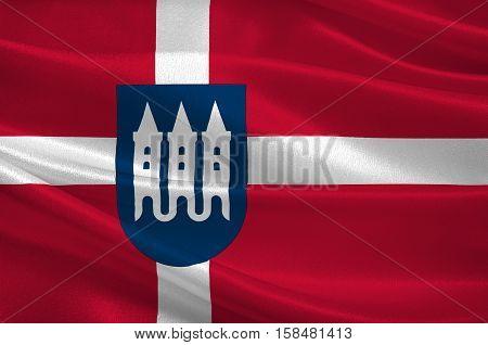Flag of Skanderborg in Central Jutland Region in Denmark. 3d illustration