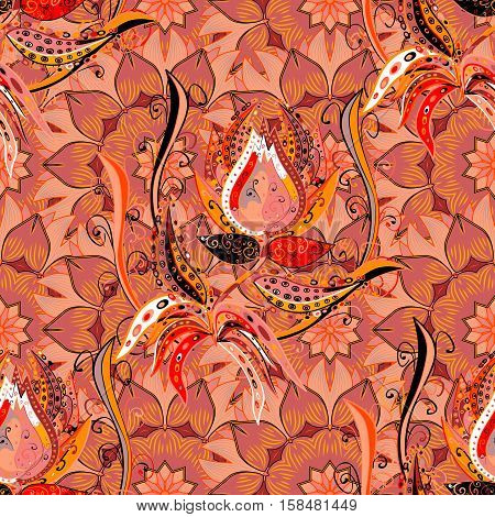 Seamless creative hand-drawn pattern of stylized flowers in pale orange colors. Vector illustration.