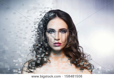 Beauty effect concept.  Half face of young and half old woman. Health care, plastic surgery, medicine, cosmetics, face lifting concept.