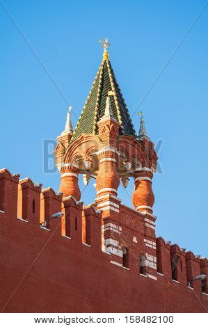 One of the towers of the Moscow Kremlin - sample of ancient architecture